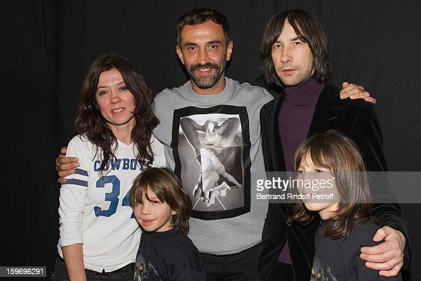 Riccardo Tisci Bobby Gillespie Gillespie's sons Wolf and Lux and guest attend the Givenchy Men Autumn / Winter 2013 show as part of Paris Fashion...