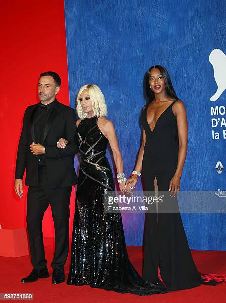Riccardo Tisci Donatella Versace and Naomi Campbell attend the premiere of 'Franca Chaos And Creation' during the 73rd Venice Film Festival at Sala...