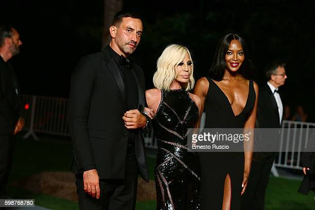 Riccardo Tisci Donatella Versace Naomi Campbell attend the premiere of 'Franca Chaos And Creation' during the 73rd Venice Film Festival at Sala...