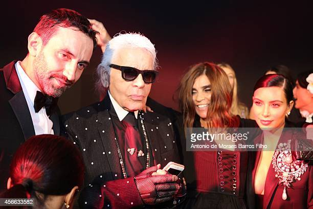 Riccardo Tisci Karl Lagerfeld Carine Roitfeld and Kim Kardashian attend the CR Fashion Book Issue No5 Launch Party hosted by Carine Roitfeld and...
