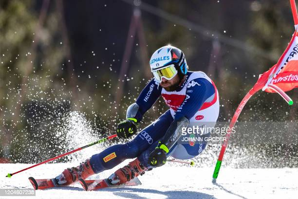 Riccardo Tonetti of Italy competes during the first run of the men's giant slalom of the FIS Ski World Cup in Hinterstoder Austria on March 2 2020 /...