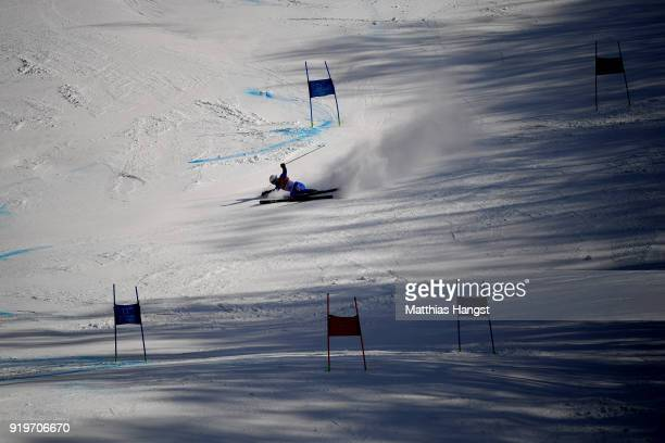 Riccardo Tonetti of Italy crashes during the Alpine Skiing Men's Giant Slalom on day nine of the PyeongChang 2018 Winter Olympic Games at Yongpyong...
