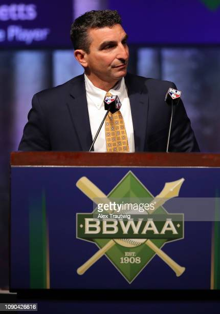 J P Ricciardi introduces Sandy Alderson winner of the Arthur Milton Richman You Gotta Have Heart award during the 2019 Baseball Writers' Association...