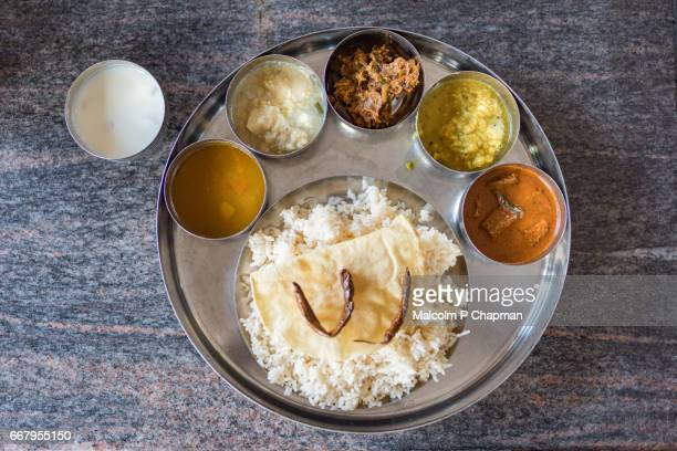 Rice and Curry meal ,thali, a traditional meal in Jaffna, Sri Lanka.