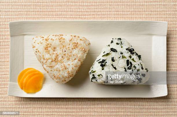 rice balls and japanease pickles - rice ball stock pictures, royalty-free photos & images