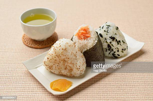 Rice balls and japanease pickles with tea