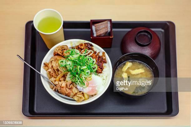 rice bowl teishoku - aburaage stock pictures, royalty-free photos & images