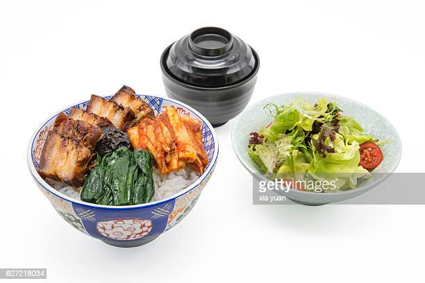 Rice Bowl With Braised Pork Toppings And Vegetables Salad