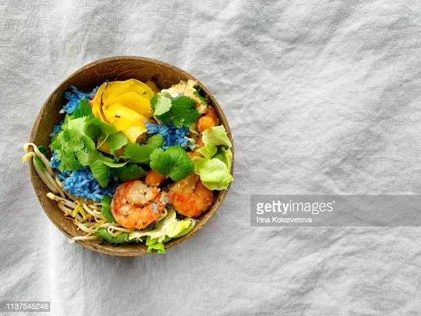 rice bowl with vegetables and seafood - キムチ ストックフォトと画像