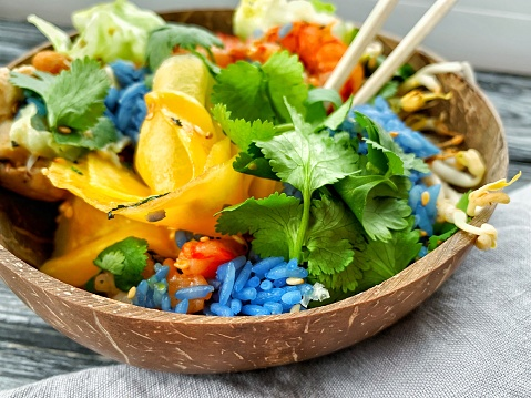 Rice bowl with vegetables and seafood - gettyimageskorea