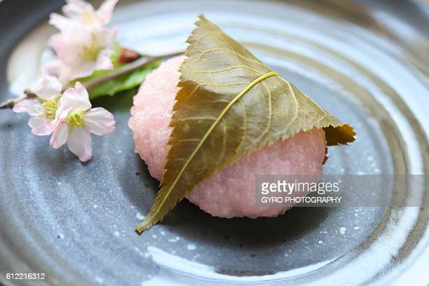 Rice cake with Cherry Blossom on plate