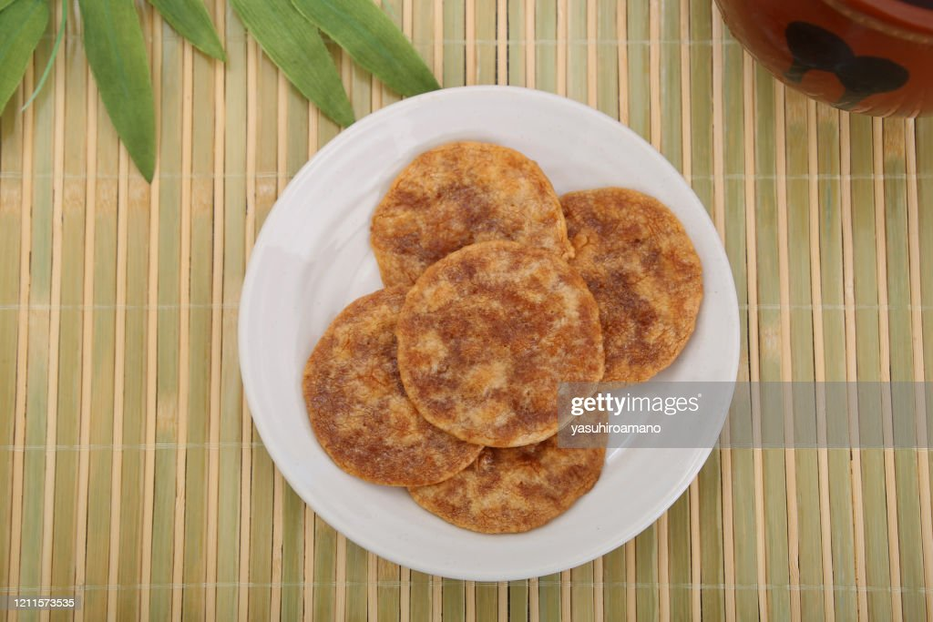 Rice cracker of the soy sauce taste : Stock Photo