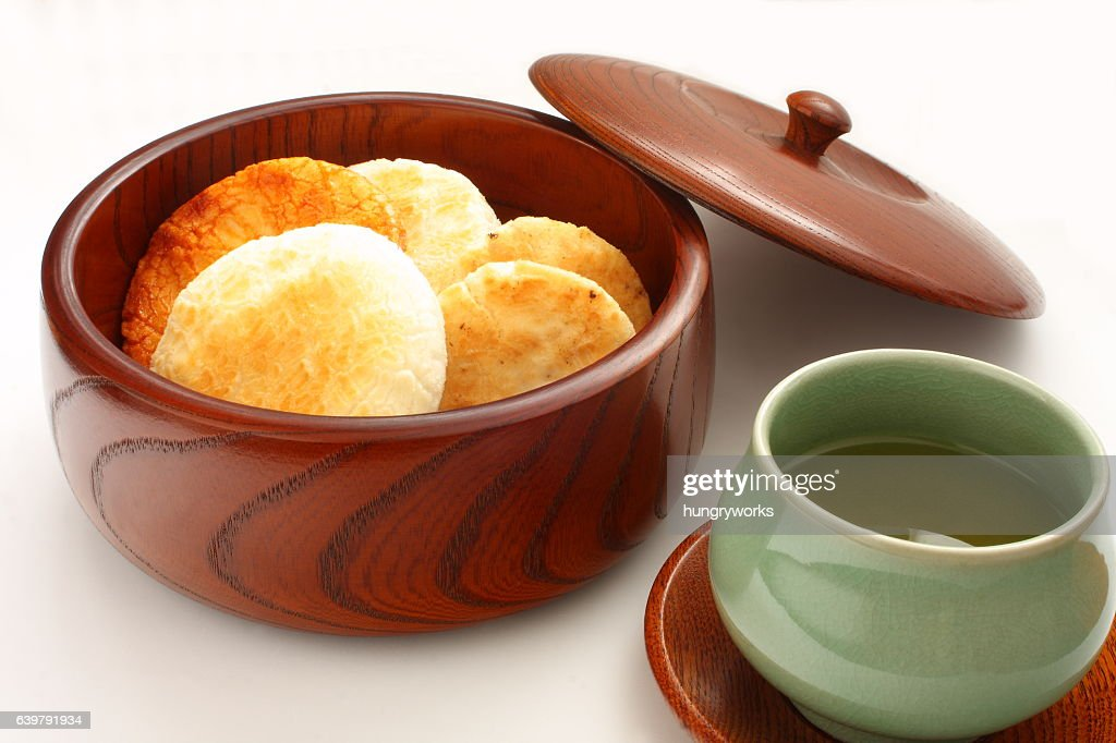 Rice Crackers Sembei, Japanese Snack and Green Tea : Stock Photo