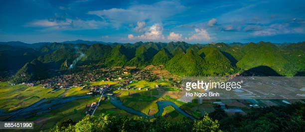 rice field in valley in bac son, lang son, vietnam from above - country geographic area stock pictures, royalty-free photos & images