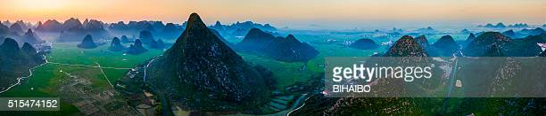 Rice fields at sunset,guilin,china