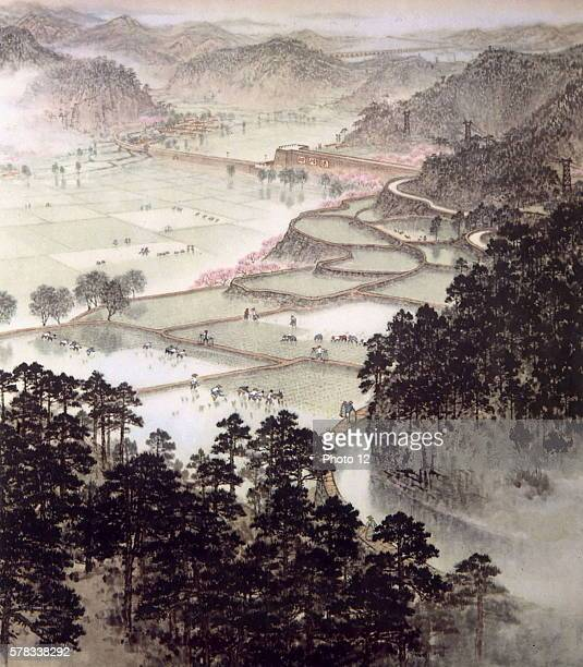 Rice fields by the YangTse Kiang river Traditional Chinese painting style 20th century