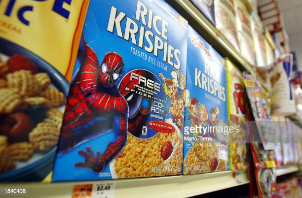 Rice Krispies boxes with a 'SpiderMan' promotion sit on a shelf May 7 2002 in New York City 'SpiderMan' the movie shattered records becoming the...