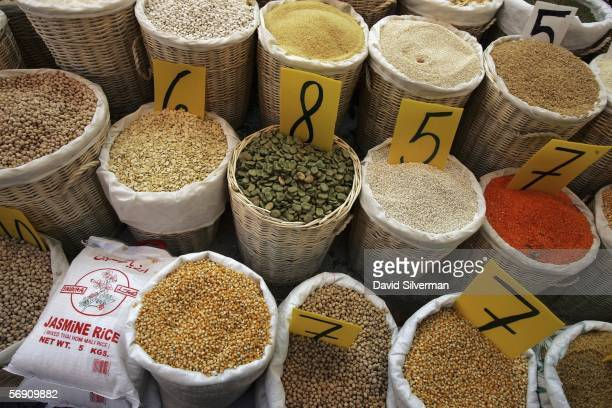 Rice lentils chick peas beans and other legumes which traditionally feature on the daily menu in Mediterranean countries are sold by weight in the...