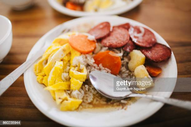 Rice meal with omelette and sausage in Mongolia