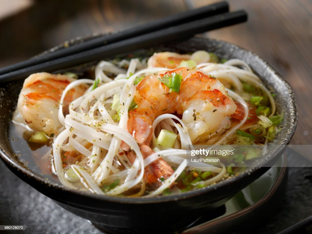 Rice Noodle Pho with Tiger Prawns : Stock Photo