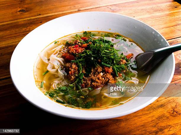 Rice noodle soup of Khao Soi