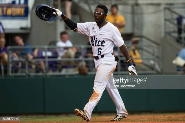 Rice Owls v. Texas Southern Tigers; Rice Owls outfielder Ryan Chandler hits a home run during a Regional Game on June 3, 2017 at Alex Box Stadium in...