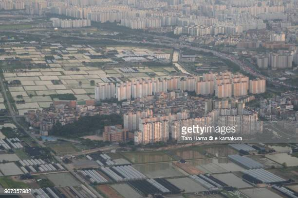 Rice paddy and many apartments in Incheon city in Korea sunset time aerial view from airplane