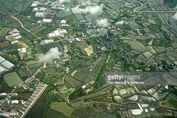 rice paddy and river in samut prakan province in thailand daytime aerial view from airplane - utc−10:00 stock pictures, royalty-free photos & images