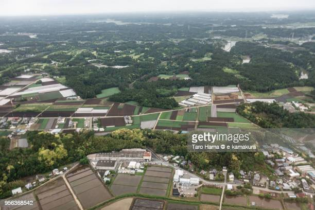 rice paddy in shibayama and tako towns in chiba prefecture in japan daytime aerial view from airplane - chiba city stock pictures, royalty-free photos & images