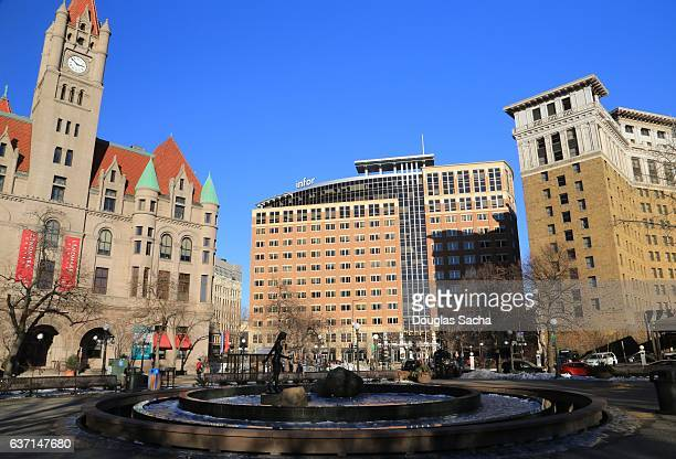 rice park in the center of downtown, saint paul, minnesota, usa - st. paul minnesota stock pictures, royalty-free photos & images