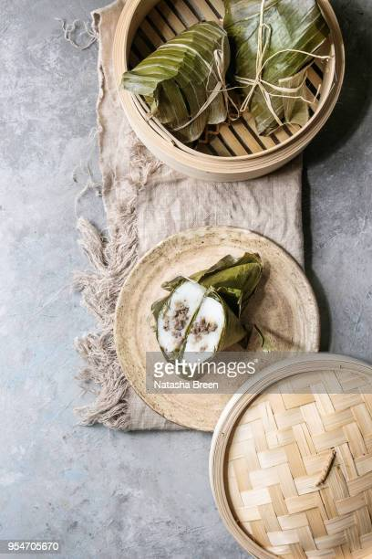 rice piramidal dumplings - dragon boat festival stock pictures, royalty-free photos & images