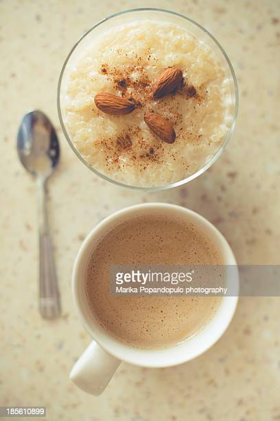 Rice pudding and coffee