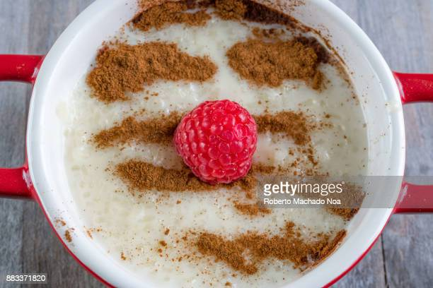 Rice pudding dessert or sweet food The dish is made from rice mixed with milk and other ingredients such as cinnamon raspberry and raisins