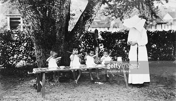 Rice Time In The Crib Of Giadmik For Orphan Children In 1936.