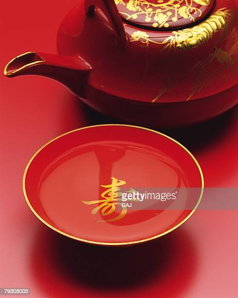 Rice wine pot and cup for wedding, Close Up, High Angle View