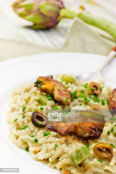 Rice with artichoke sping onions and almond butter
