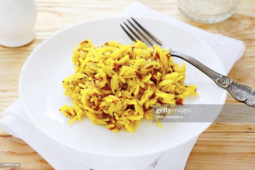 rice with seasonings, eastern pilaf : Stock Photo
