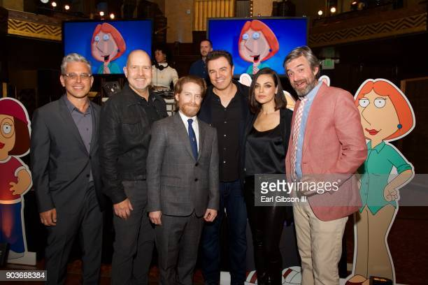 Rich Appel Mike Henry Seth Green Seth MacFarlane Mila Kunis and Alec Sulkin attend Fox Celebrates 300th Episode of Family Guy at Cicada on January 10...