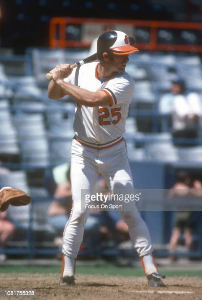 Rich Dauer of the Baltimore Orioles bats during a Major League Baseball game circa 1980 at Memorial Stadium in Baltimore Maryland Dauer played for...