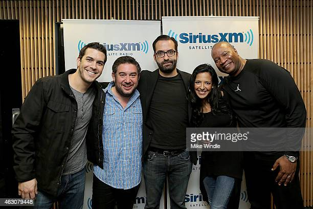 Rich Davis Ryan Sampson Alan Wilkis aka Big Data Nicole Ryan and Stanley T attend Hits 1's The Morning Mash Up Broadcast from the SiriusXM Studios on...