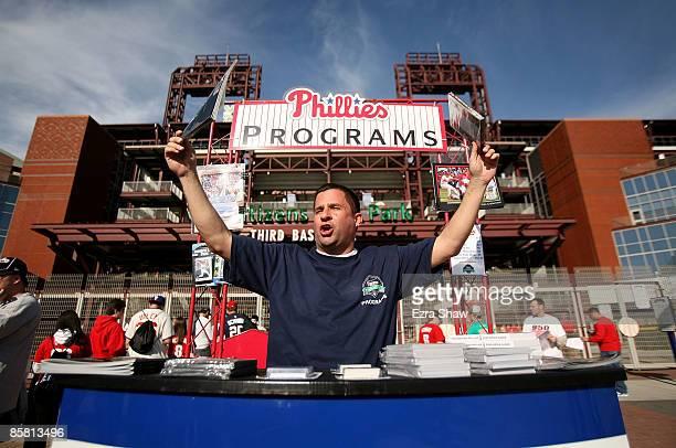 Rich DiArengo sells programs before the Philadelphia Phillies game against the Atlanta Braves on April 5 2009 at Citizens Bank Park in Philadelphia...