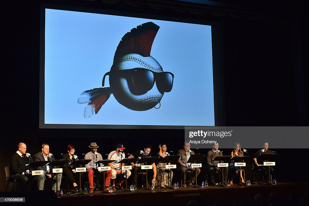 Rich Eisen, Billy Gardell, Sharon Osbourne, Robbie Jones, Brian Wilson, Joe Manganiello, Ming-Na Wen, Eric Stonestreet, Rob Huebel, Sofia Vergara and Thomas Lennon perform at the Film Independent at LACMA Live Read of 'Major League' at Bing Theatre At LACMA on April 16, 2015 in Los Angeles, California.