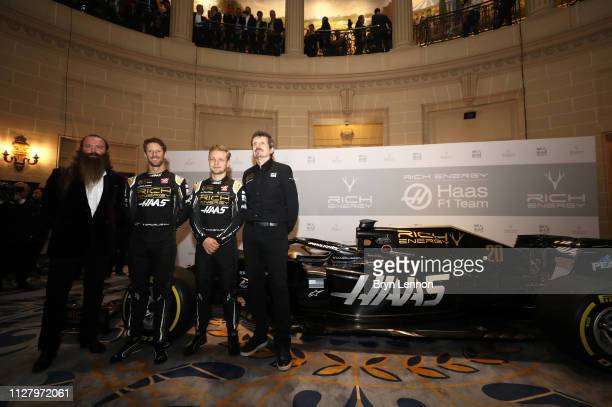 Rich Energy CEO William Storey drivers Romain Grosjean and Kevin Magnussen and Rich Energy Haas F1 Team Principal Guenther Steiner pose alongside the...