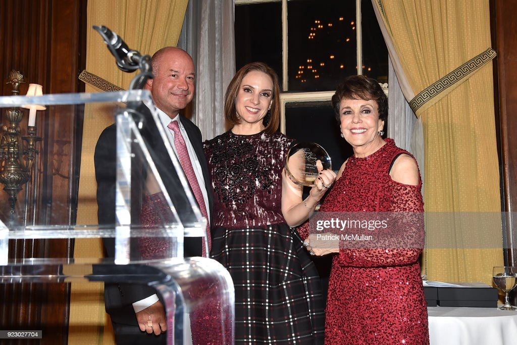 Rich Gersten, Elana Szyfer and Linda Marshall attend Symrise's Achim Daub & ReVive's Elena Drell Szyfer honored at BEYOND BEAUTY Dinner 2018; Special Speaker: Actor and Mental Health Advocate Danielle Lauder at The Union League Club on February 15, 2018 in New York City.