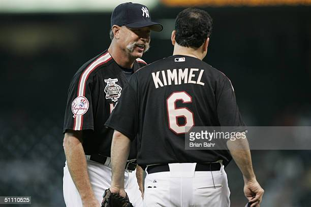 Rich Goose Gossage former AllStar Pitcher for the Chicago White Sox and New York Yankees talks to Comedian/TalkShow Host Jimmy Kimmel during the...