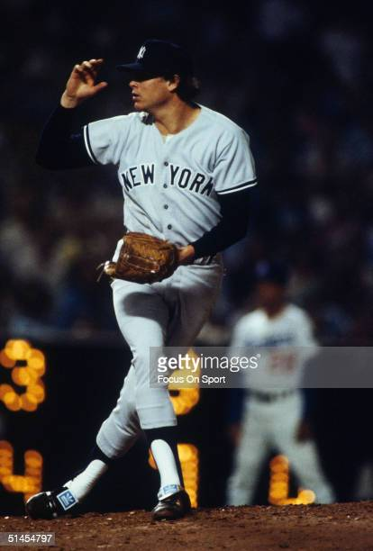 Rich Gossage of the New York Yankees on the mound during the World Series against the Los Angeles Dodgers at Dodger Stadium in Los Angeles CA October...