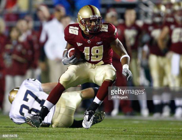 Rich Gunnell of the Boston College Eagles runs against the defense Eras Noel of the the Notre Dame Fighting Irish on November 8 2008 at Alumni...