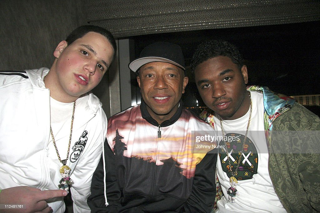 Rich Hilfiger,Russell Simmons and MJ during Phat Farm Party for Magic 06 - February 22, 2006 at Palm Hotel Hard wood Suite in Las Vegas, Nerevada, United States.