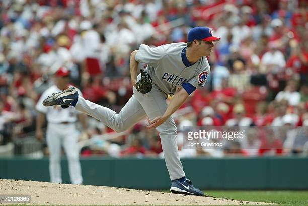 Rich Hill of the Chicago Cubs pitches during the game against the St Louis Cardinals at Busch Stadium in St Louis Missouri on August 26 2006 The...