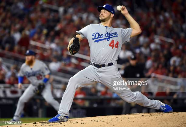Rich Hill of the Los Angeles Dodgers delivers in the first inning against the Washington Nationals in game four of the National League Division...